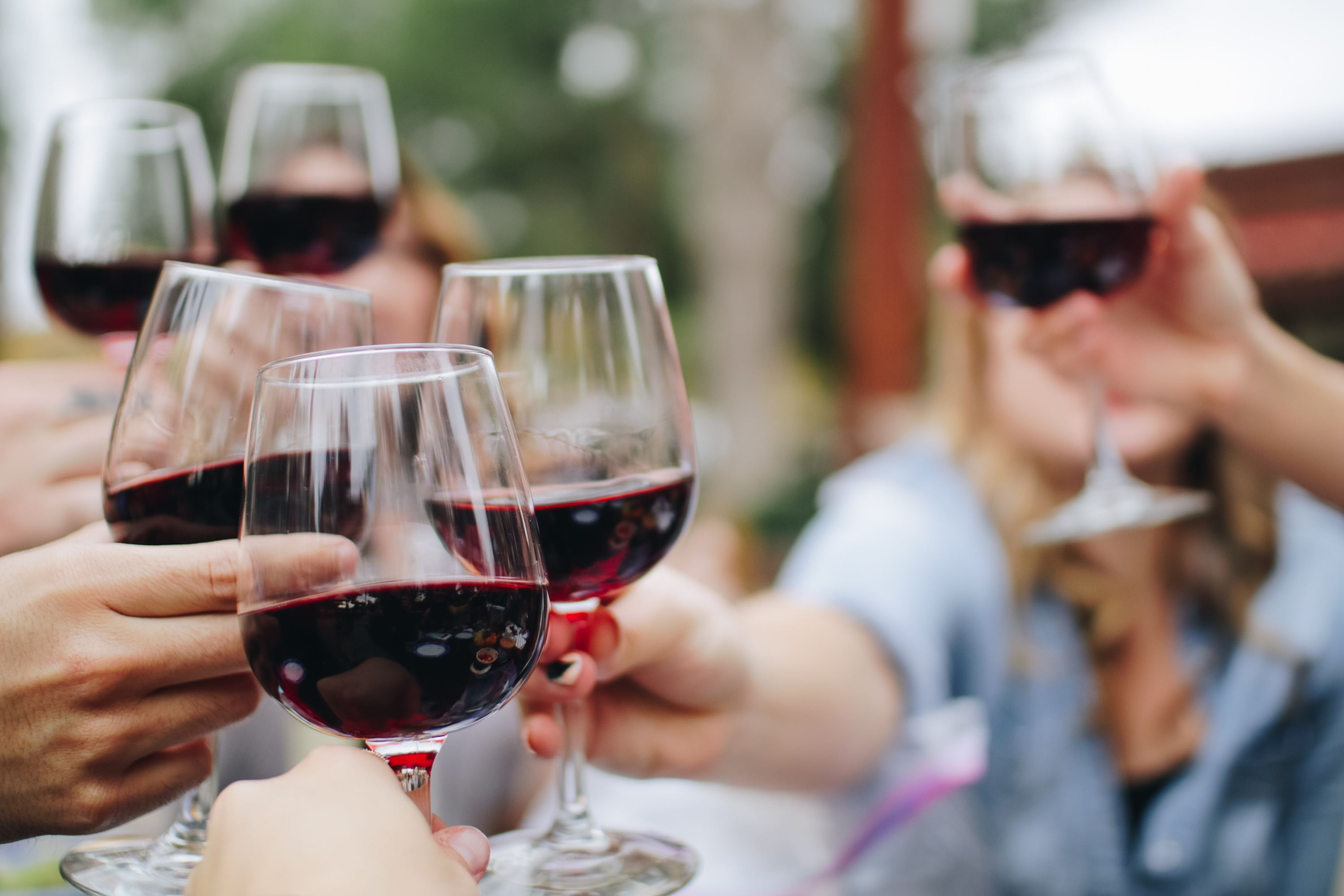 group of people with wine glasses cheering