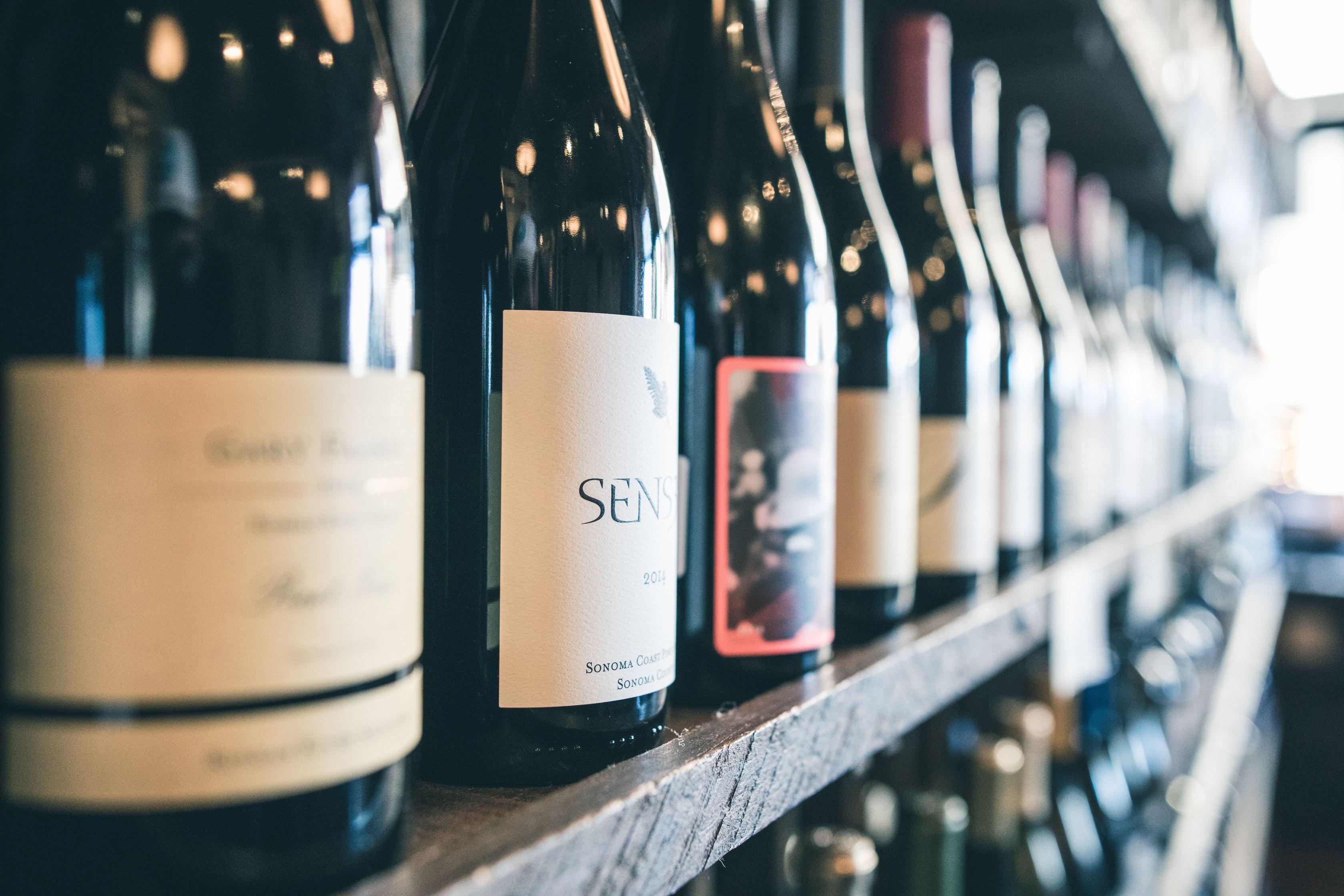 bottles of wine on a shelf