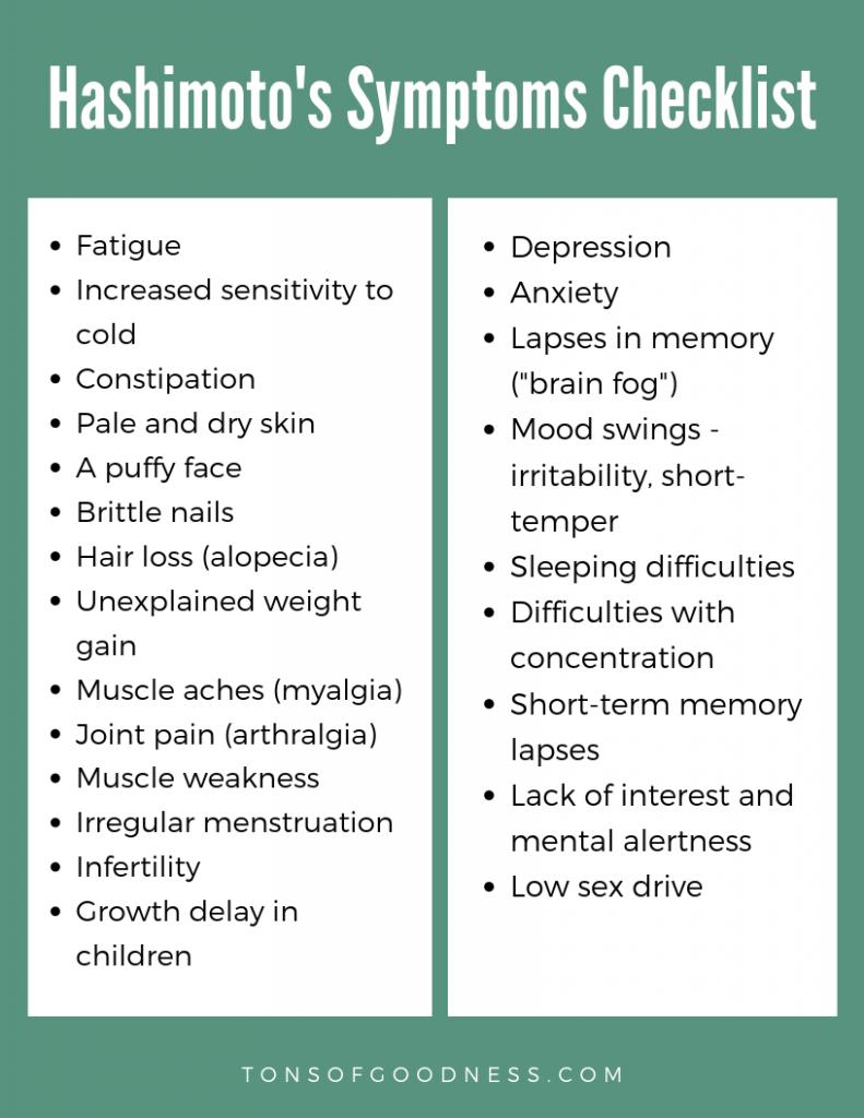 list of hashimoto's symptoms