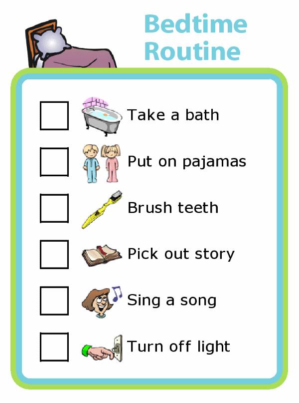 example of the Trip Clip bedtime routine checklist