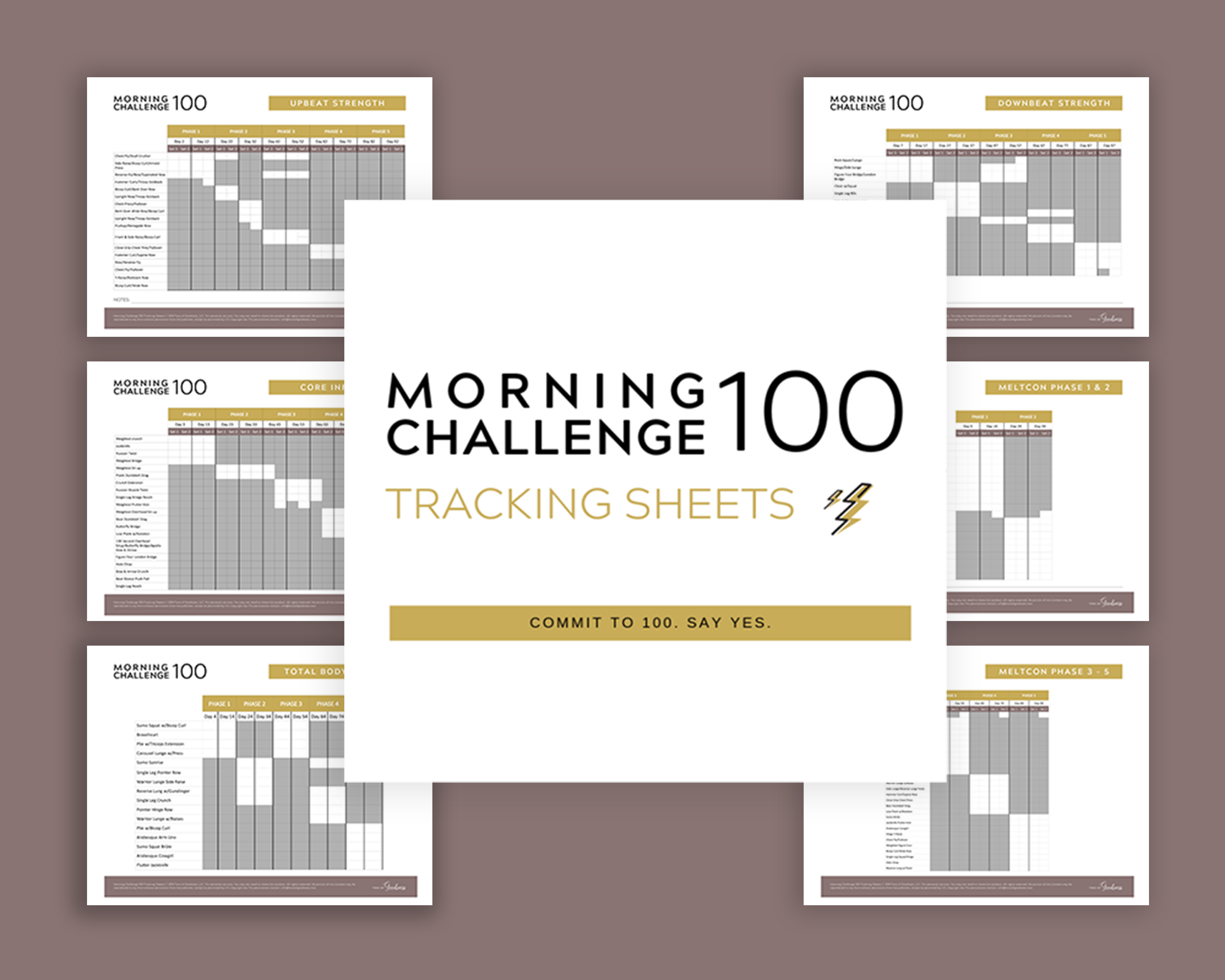 morning challenge 100 tracking sheets