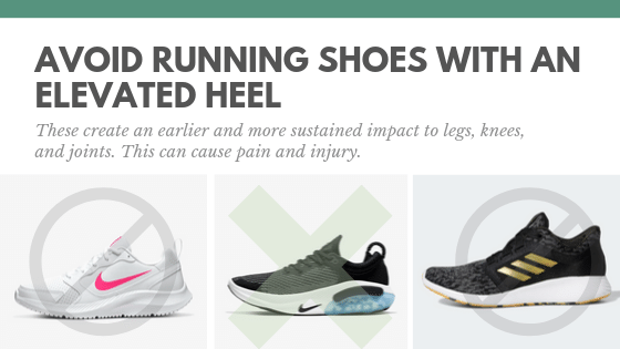 avoid elevated heel shoes - running tips