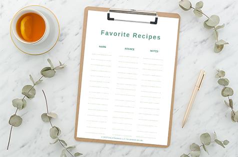 image of favorite recipe index for gluten-free dinner