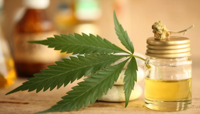 CBD Oil in a bottle with hemp leaf on side