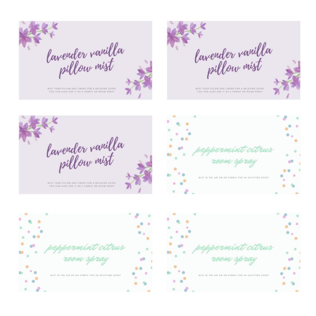lavender vanilla pillow mist insert card