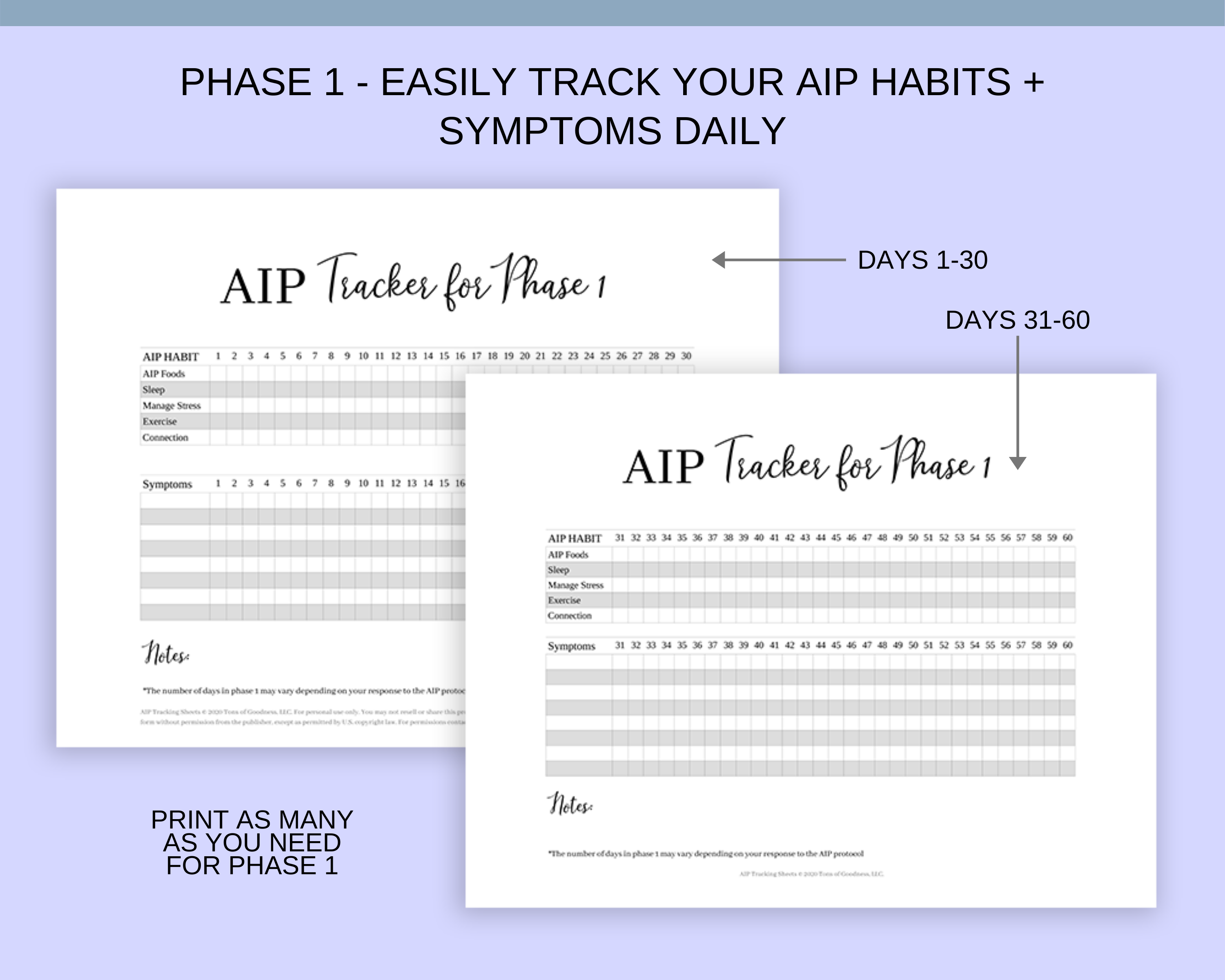 AIP tracking sheets
