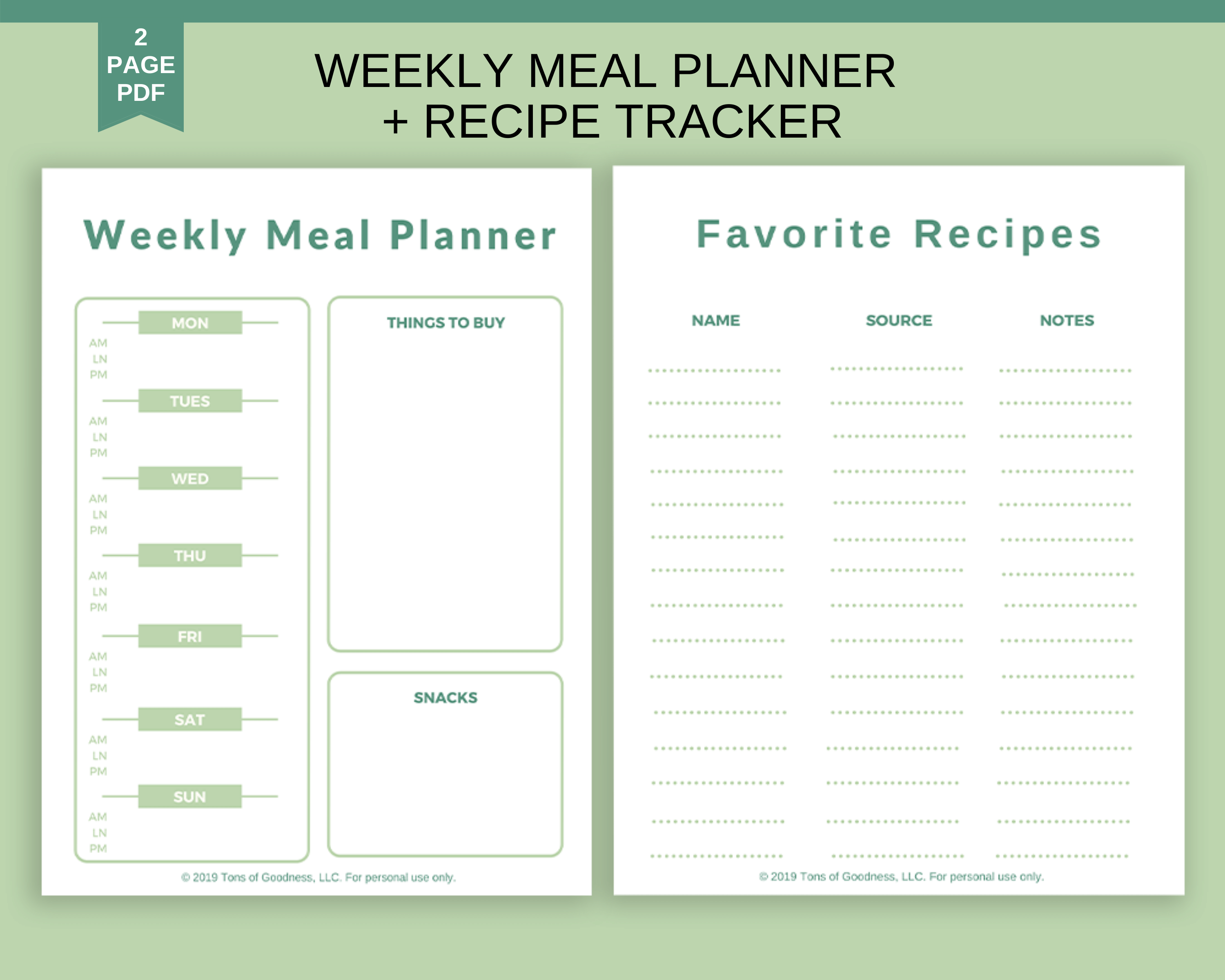 Weekly Meal PLanner & Recipe Tracker image