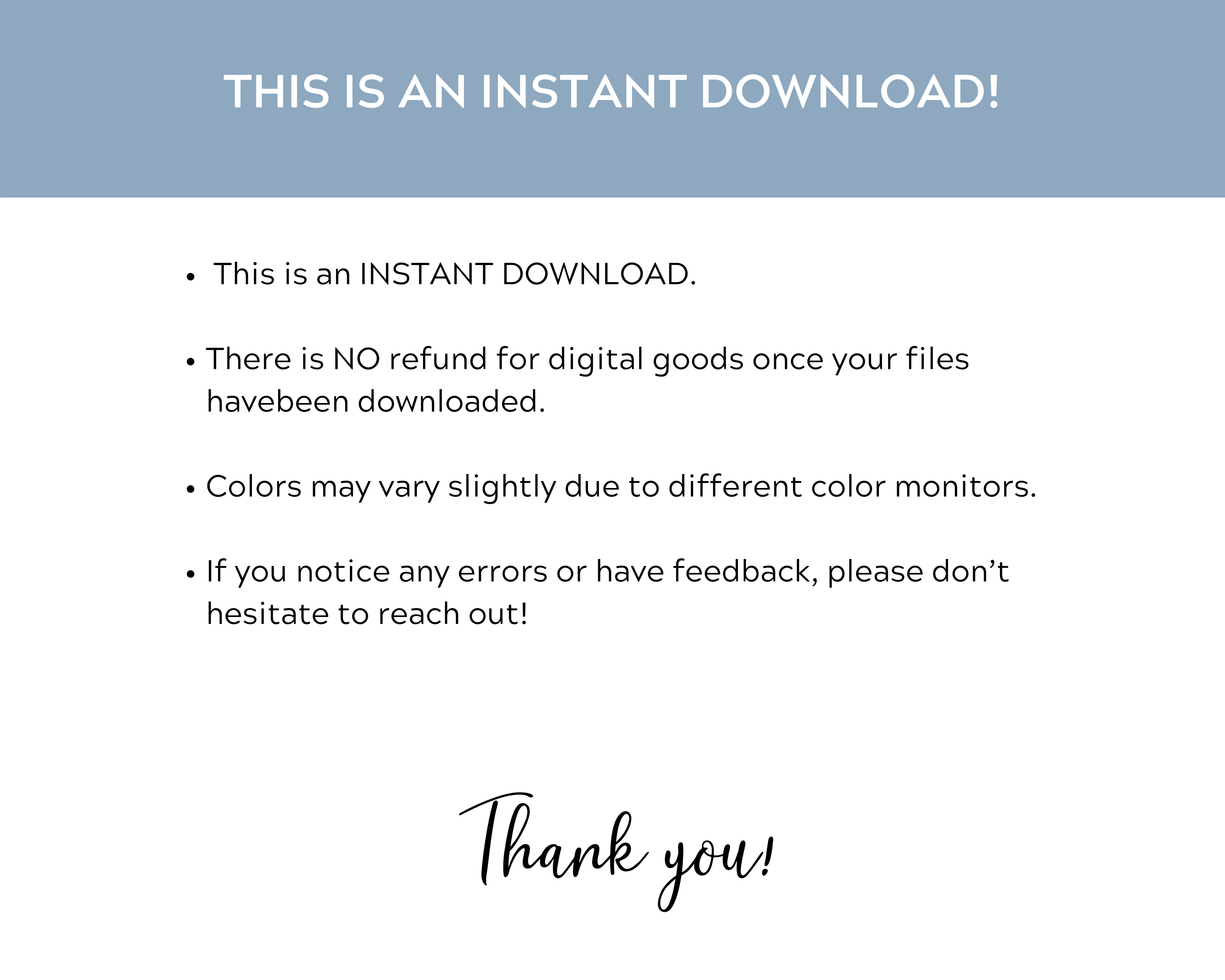 instant download info