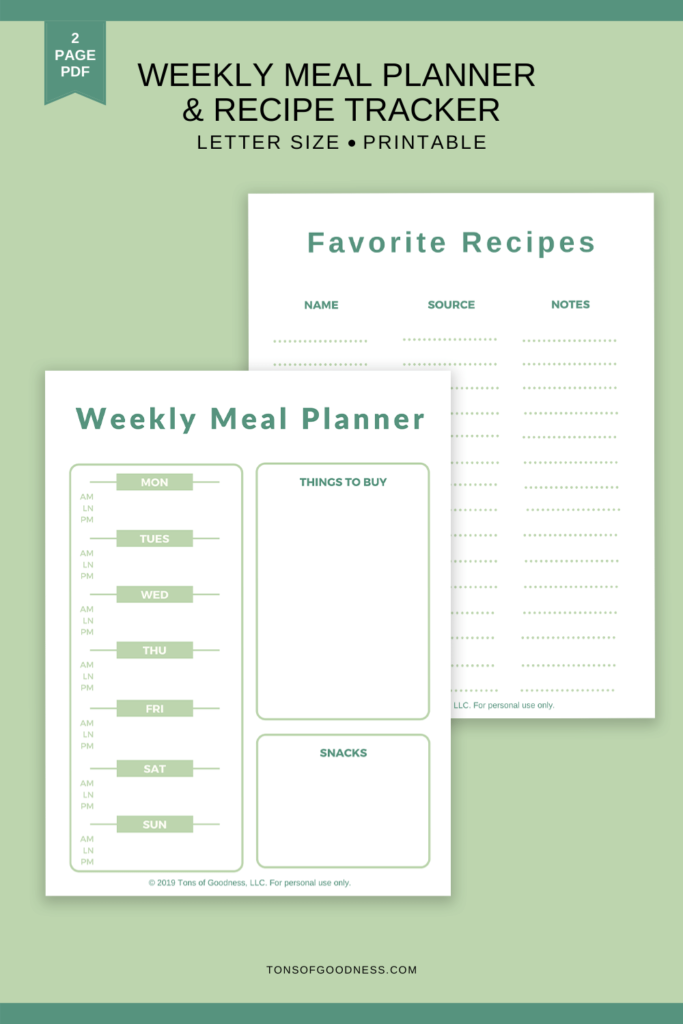 weekly meal plan template pdf printable