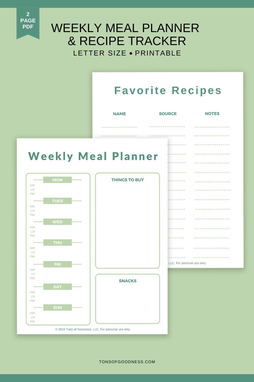 weekly meal plan template pdf printable