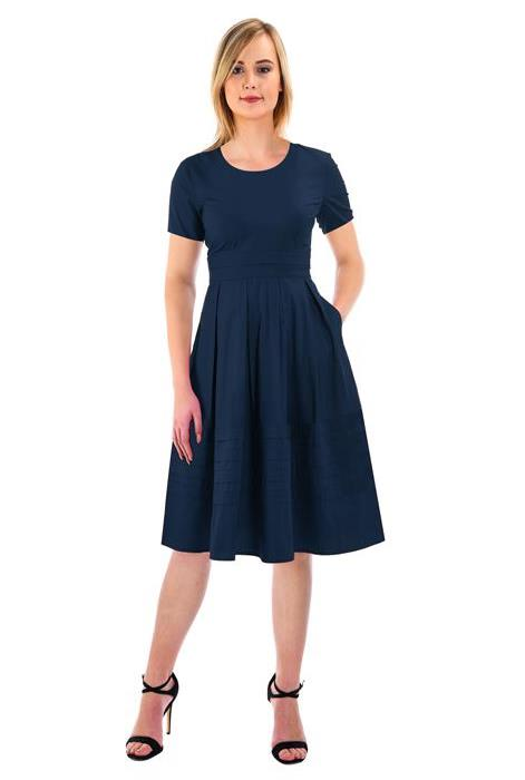 eshakti pintuck pleat dress in navy