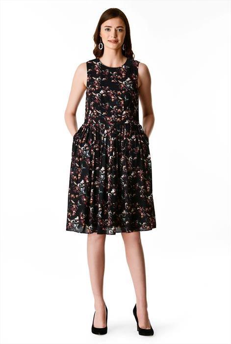 eshakti floral print crepe dress