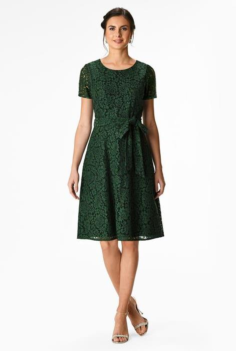 eshakti floral lace a-line dress in green
