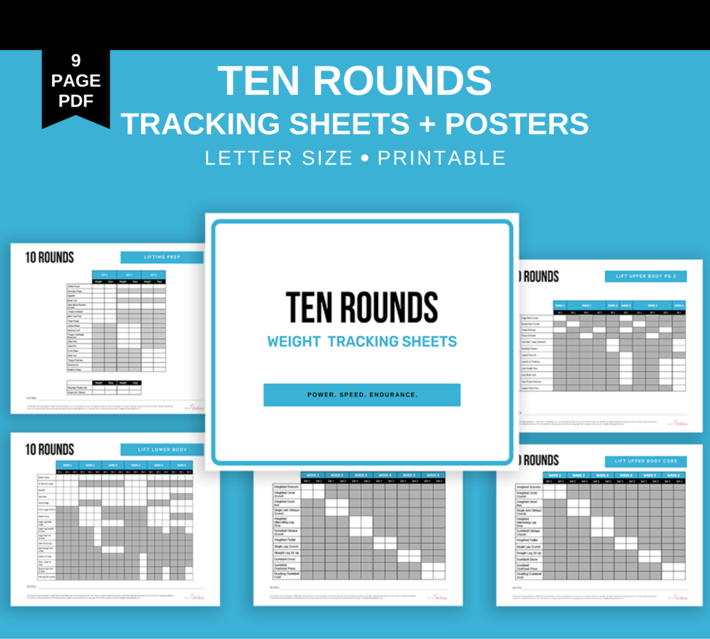 10 rounds tracking sheets and posters to use with beachbody on demand