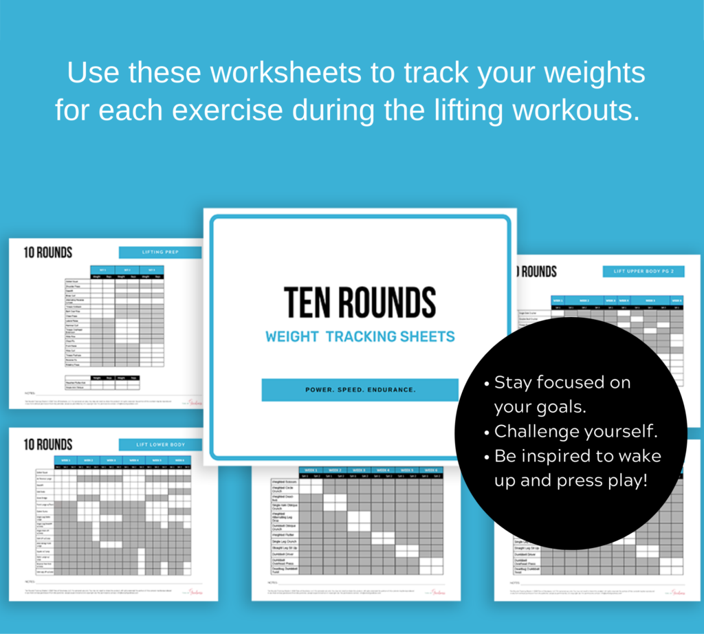 ten rounds tracking sheets for beachbody on demand