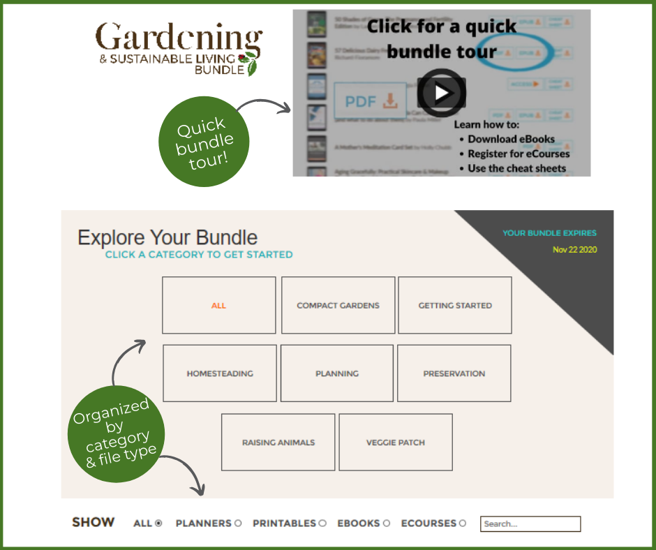 screenshot of gardening bundle