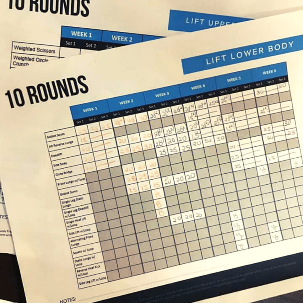 completed 10 rounds tracking sheet