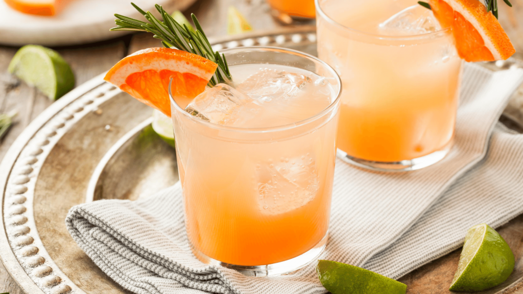two glasses of sparkling paloma