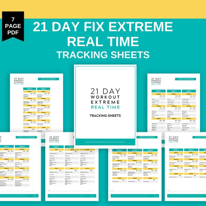 21 day fix extreme real time tracking sheets