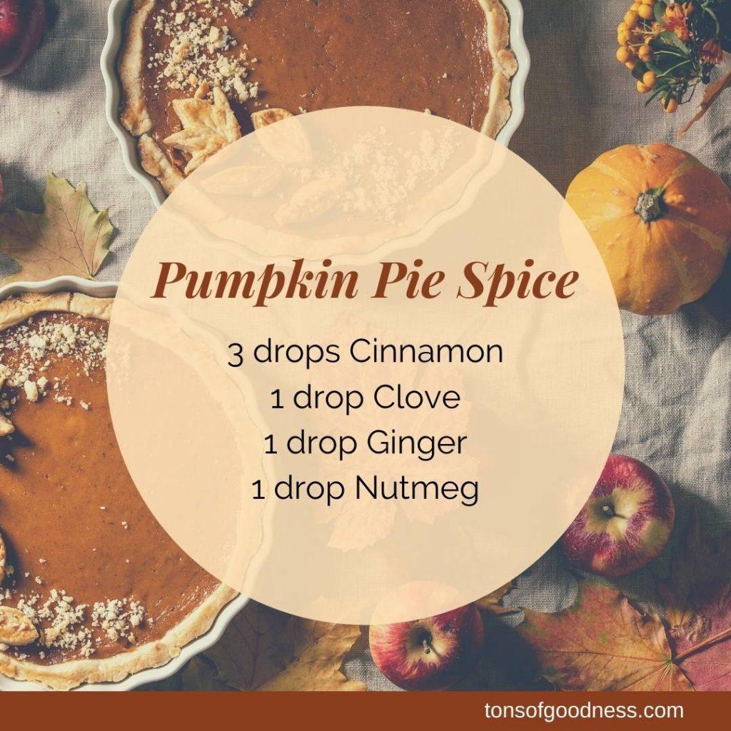 pumpkin pie spice essential oil recipe with pumpkin pie background