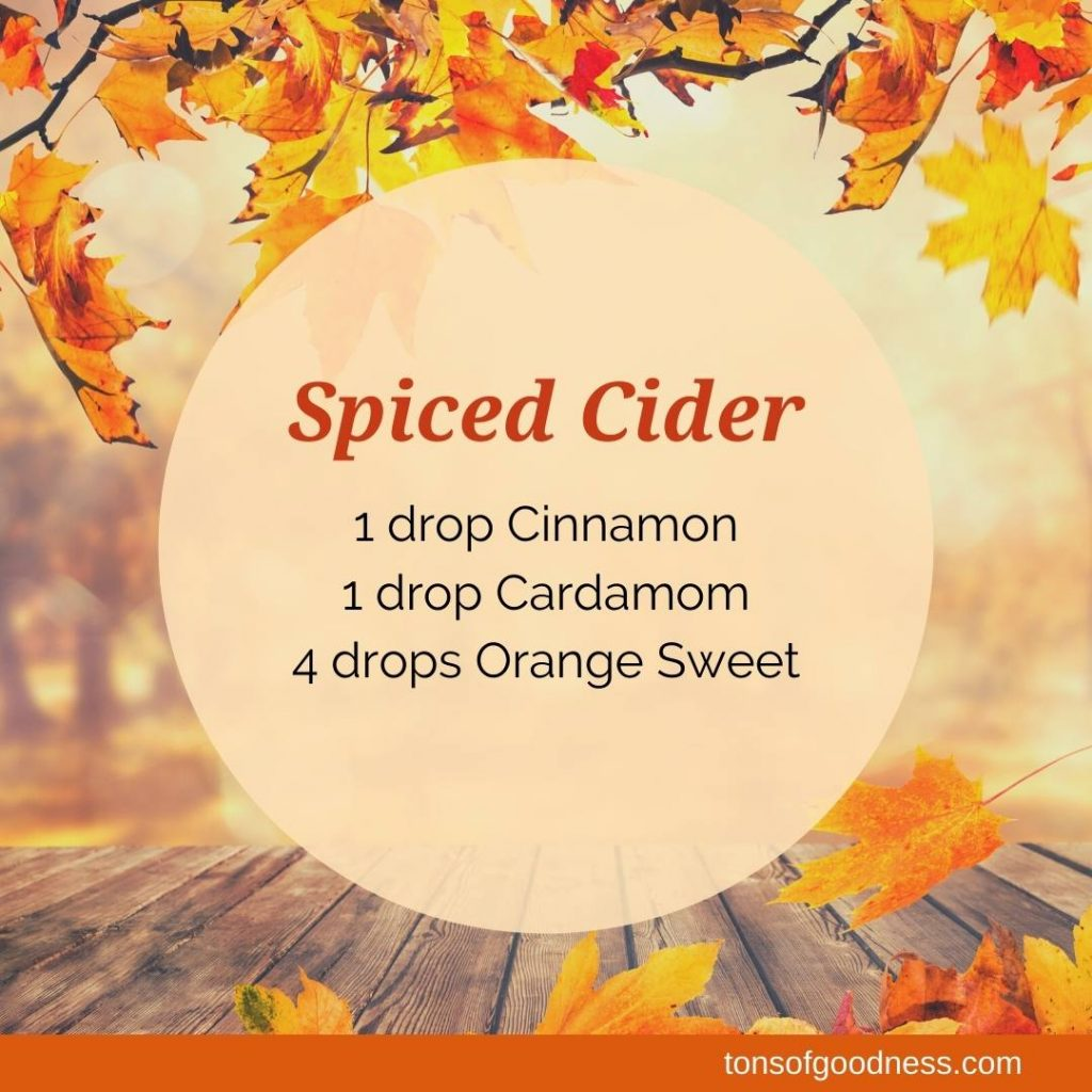 spiced cider essential oil recipe with fall leave background