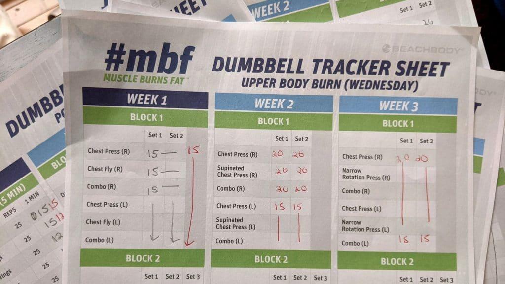 #mbf muscle burns fat workout sheets