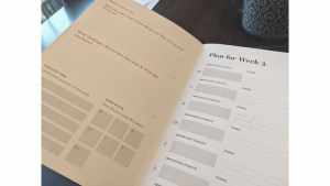 weekly page in planner journal