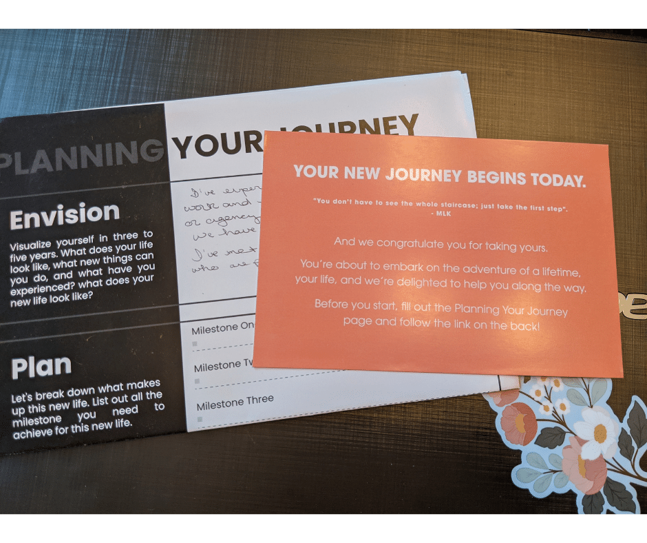 The novel of you insert cards linking to email or text signup